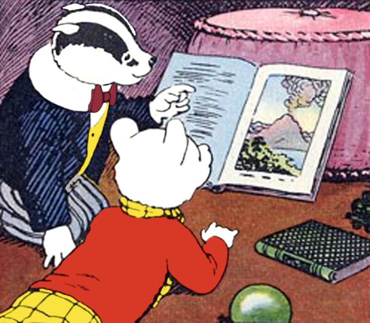 Rupert Bear and Bill reading