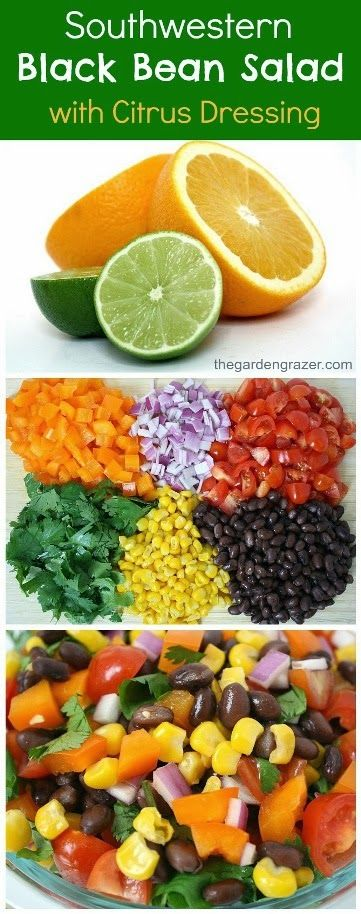 Southwestern black bean salad with a fresh citrus dressing. Also makes a great, healthy take-along lunch! (vegan, gluten-free)
