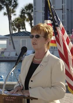 Sarasota Mayor Mary Anne Servian makes opening remarks at the pool side reception  at the Florida Sister Cities State Conference at the Helmsley Sandcastle on Lido Key in Sarasota in 2005
