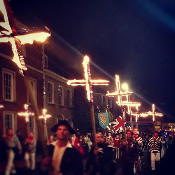 The 'Lewes Bonfire' (Sussex) the UK's largest and most famous fire festival