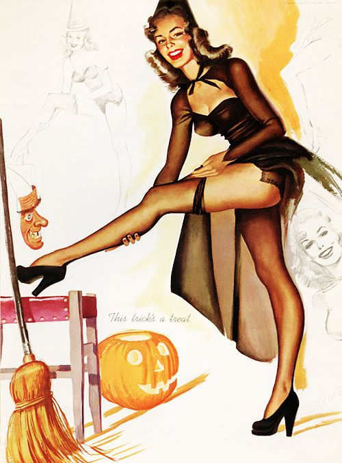31 Days of Halloween pin-ups 28/31 –> Illustration by Freeman Elliot, 1950