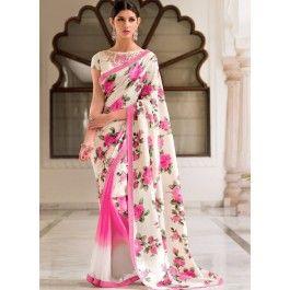 Reversible Rose Pink and White Floral Printed Saree