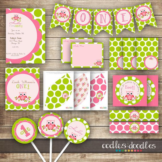 Pink and Green Owl Girl's Birthday PARTY PACKAGE / Pink & Green Polka Dots Birthday / 1st, 2nd, 3rd, 4th, etc. Party Kit - Printable on Etsy, $35.00