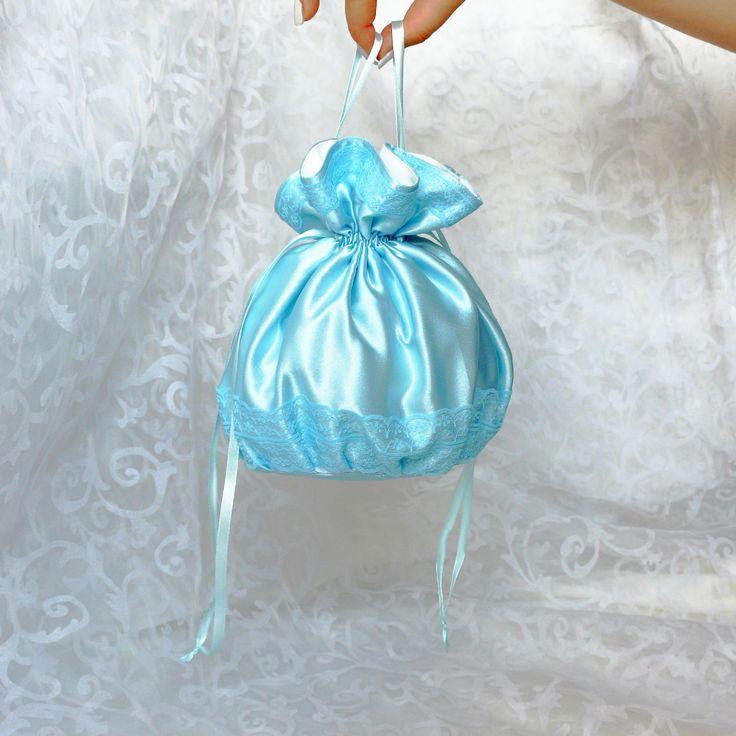 Pompadour purse evening handbag wristlet drawstring reticule blue satin by AlicesLittleRabbit on Etsy