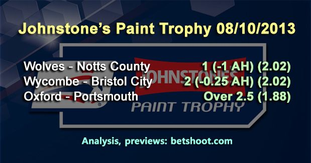 3 Johnstone's Paint Trophy predictions for tonight:  Wolves - Notts County 1 (-1 AH) (2.02) Wycombe - Bristol City 2 (-0.25 AH) (2.02) Oxford - Portsmouth Over 2.5 (1.88)  Detailed analysis and key-stats on our homepage:  http://www.betshoot.com/