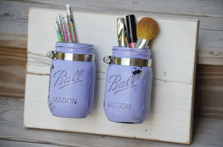 Cottage Bathroom Decor Mason Jar Wall Organizer Reclaimed Wood Bathroom Storage Kitchen Decor Lilac Purple Distressed Decor Makeup Storage by JustMasonAround on Etsy https://www.etsy.com/listing/201623863/cottage-bathroom-decor-mason-jar-wall