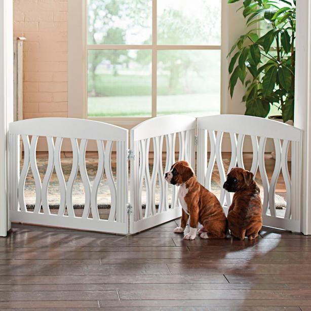 Wavy Wood Three Panel Pet Gate Home Casas Para Perros