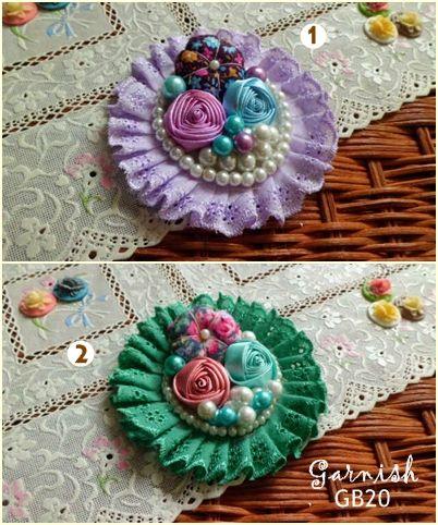 Bros Mutiara Blossom - GB20 - Rp 30.000/pcs - Diameter: 6-7 cm - Material: Renda, pearl, katun, satin flower