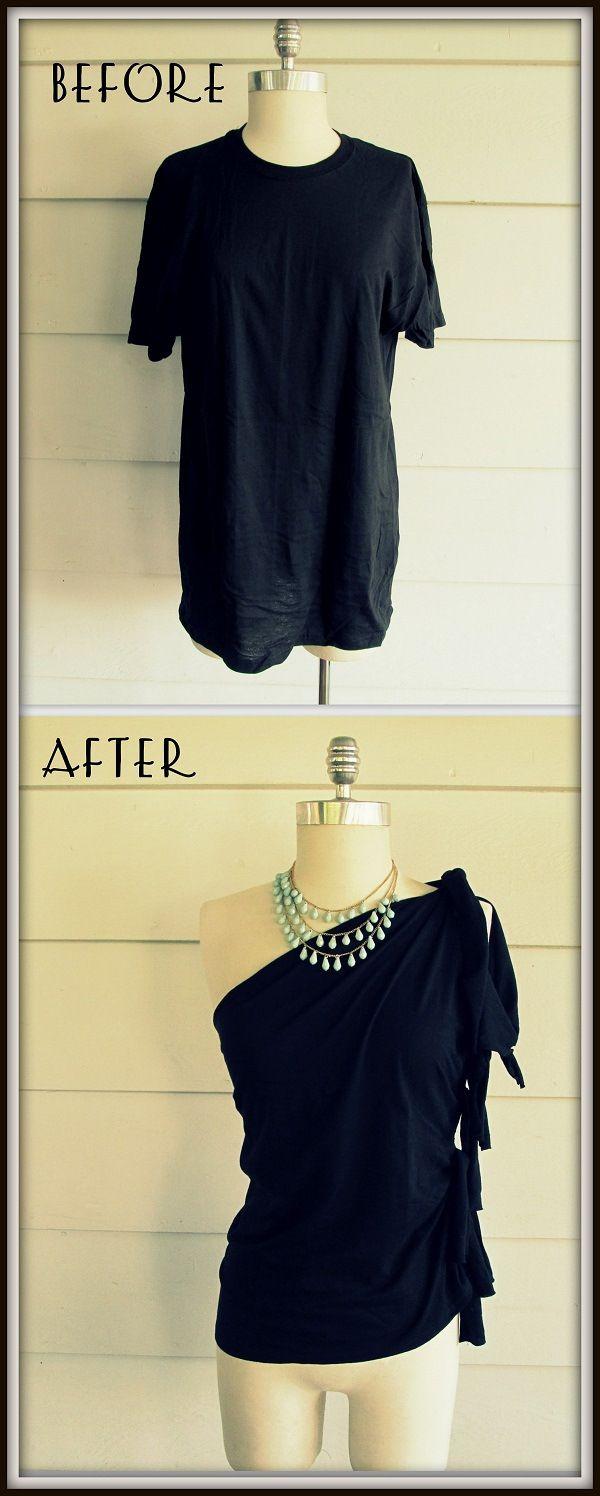 Fashion DIY Project - No-Sew One-Shoulder Shirt