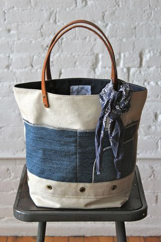 1950's era Canvas and Denim Tote Bag - FORESTBOUND