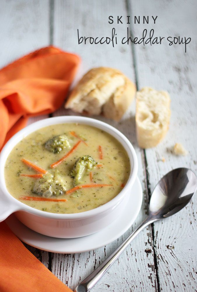 Skinny Broccoli Cheddar Soup - a lower fat version... you'll never miss the fat!