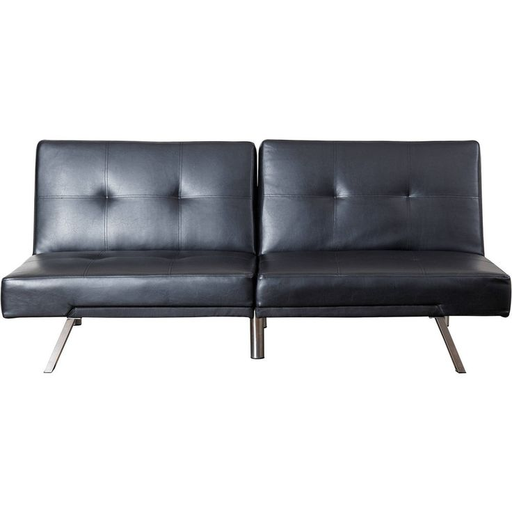 Leather Futon Sofa Bed Jet Black  w Wood , Leather Metal Material                #DevonClaire