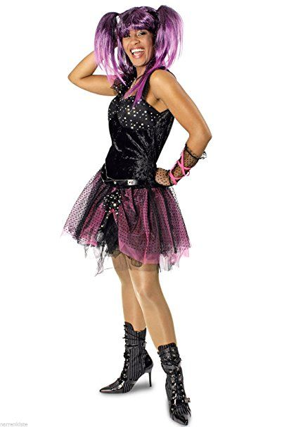 K31250422 Kinder Madchen Damen Punker Kostum Kleid Rockerin
