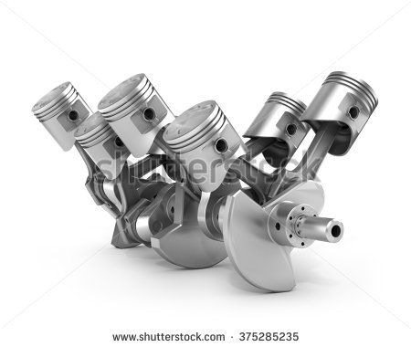 Engine pistons and cog. 3D image.