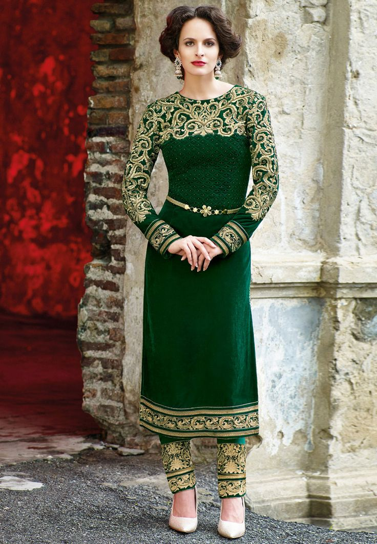 Velvet green shalwar kameez Stunning, Fit is fantastic ...