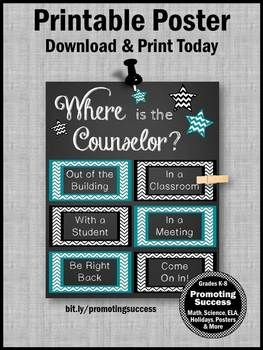 """This printable poster makes a great school counselor gift idea for a back to school decor, Christmas or the end of the school year gift. It is an easy DIY counseling office door decoration - just print and frame.    """"Where is the Counselor?"""""""
