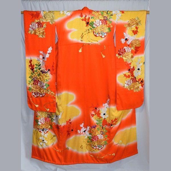 """Floral Carts"" Vintage Japanese Women's Wedding Kimono Kakeshita Bridal Dress"