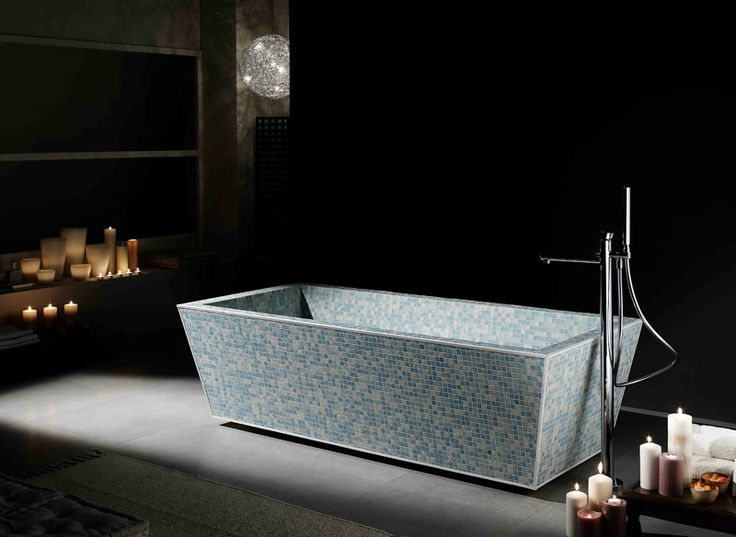 Photoluminescent Glass Tiled Freestanding Soaking Tub Blissful Bathtubs We Love At Design Connection Inc