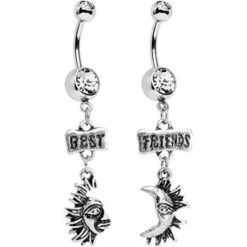 Clear Gem Best Friends Moon and Sun Dangle Belly Ring Set | Body Candy Body Jewelry