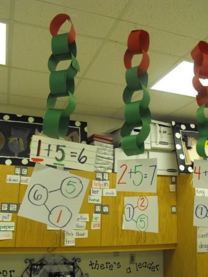 Begin teaching NUMBER BONDS by using 10. to the tune of Row Row Row your boat 9 and 1 are number bonds 8 and 2 are friends 7 and 3 6 and 4 5 and 5 are twins. Later, have them show it different ways. This picture uses Christmas colours to make class decorations.