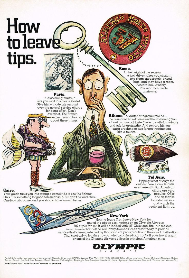 Olympic Airways Airlines Travel Tips Vintage, 1967