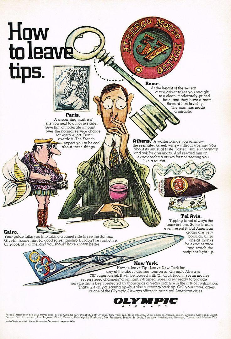 Olympic Airways Airlines Travel Tips Vintage, 1967