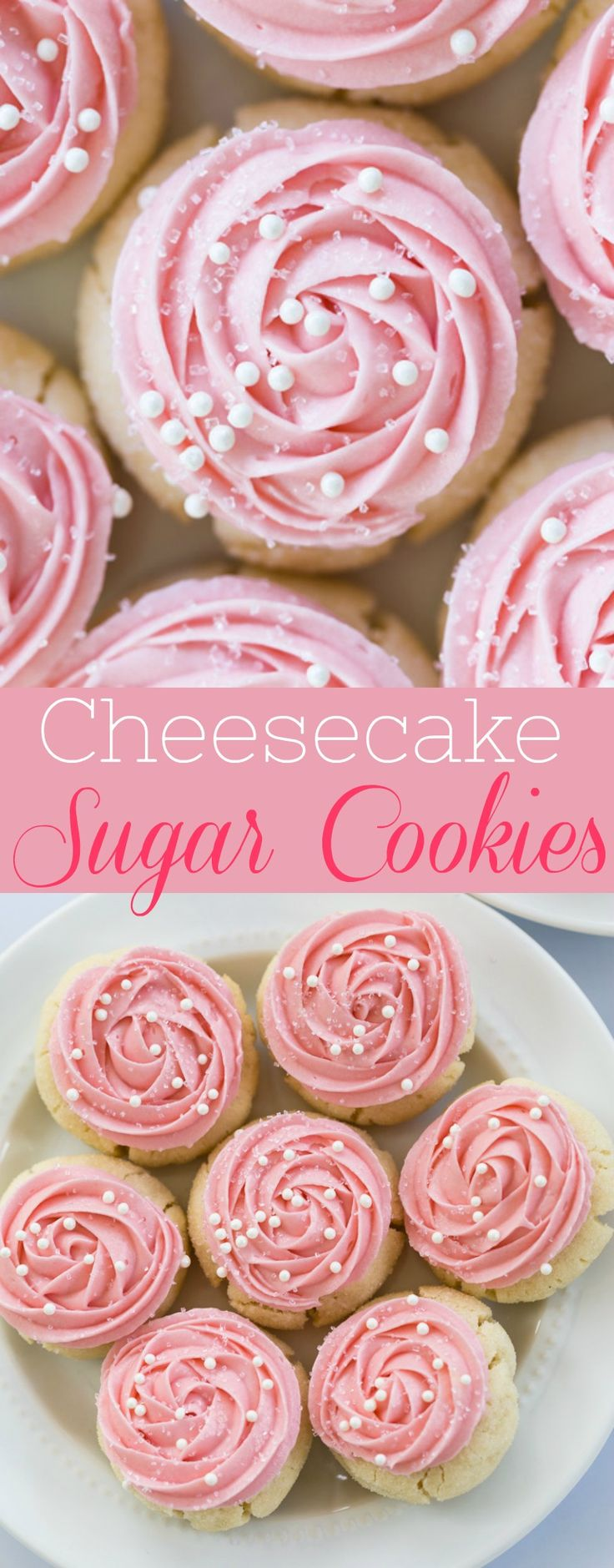 Sweet, chewy sugar cookies topped with a smooth and creamy, cheesecake frosting with an easy floral design.