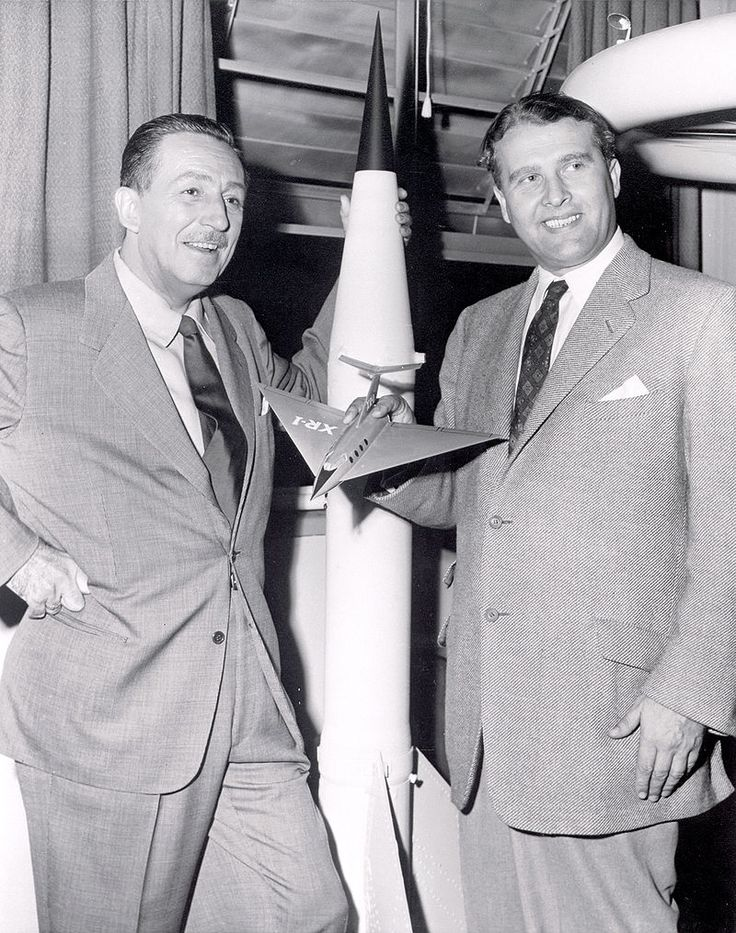 Walt Disney poses for a photo with his technical adviser Werner Von Braun. [[MORE]] Here's an interesting history of Von Braun's partnership with Disney: LINK