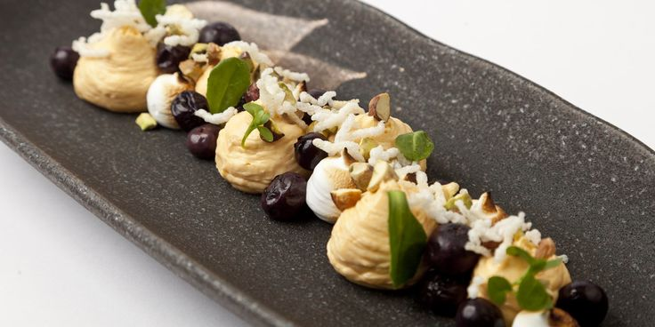 This deliciously light dessert from Paul Foster features superfoods blueberries and sea buckthorn and an exotic tonka bean gastrique, perfec...