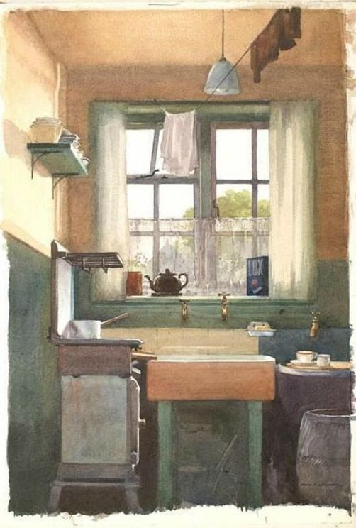 Painting of 'bare bones' old fashioned kitchen.