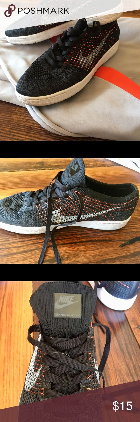 Men's Black Nike Sneakers Black material is like a mesh type good for the heat with orange accents barely worn in excellent condition great for spring training and summer weather tags - shoes running sports gym sneakers tennis shoes walking hiking exercise Nike Shoes Sneakers