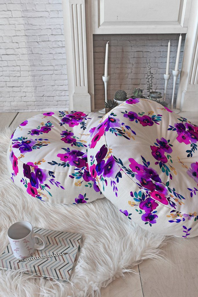 Amy Sia Ava Floral Purple Floor Pillow Round | DENY Designs Home Accessories