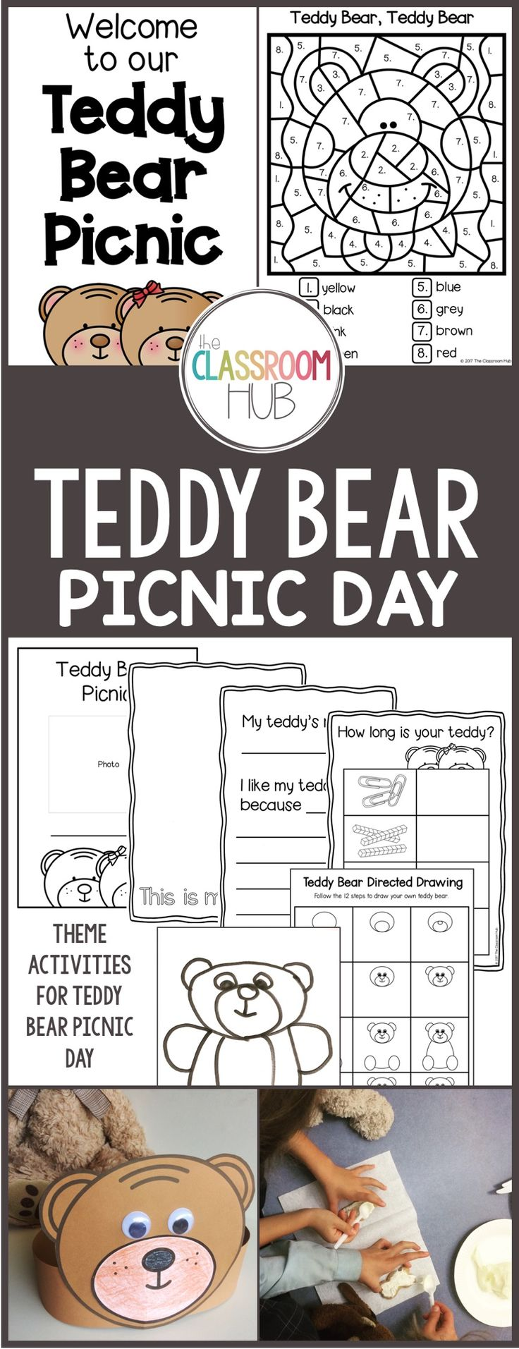 This is a collection of activities for a day or more of Teddy Bear Theme Day activities. The printables can be downloaded and used individually, or printed out and collated into a book for the day.