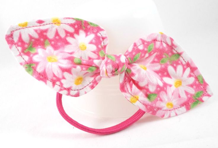 Stocking Stuffers for Teen Girls. Bright Pink with White Daisies Ponytail Holder Hair Tie Bow Ponytail Bow Cute Hair Accessories Small Gift Ideas Simple Hair Bows by foreverandrea on Etsy