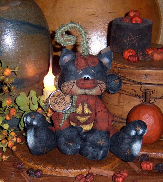 Primitive Pumpkin Black Cat Halloween Doll por pattisratties