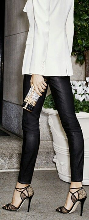 Women's fashion white blazer and Jimmy Choo strapped lace heels. THE SHOES THO