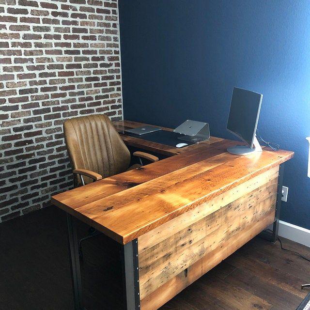 L Shaped Desk Desk With Modesty Panel Desk With Privacy Etsy In 2020 L Shaped Desk Rustic Desk Reclaimed Wood Desk