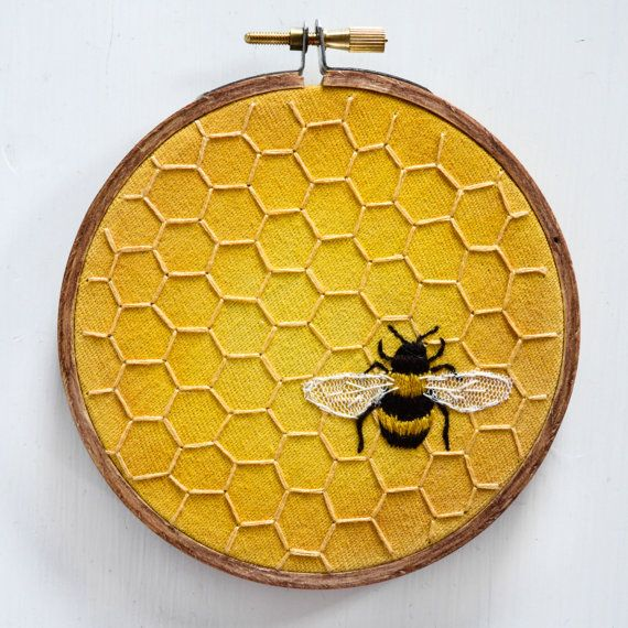Honeybee honeycomb embroidery - mixed media bumblebee hand embroidered nature bee artwork home decor honey nursery art beehive