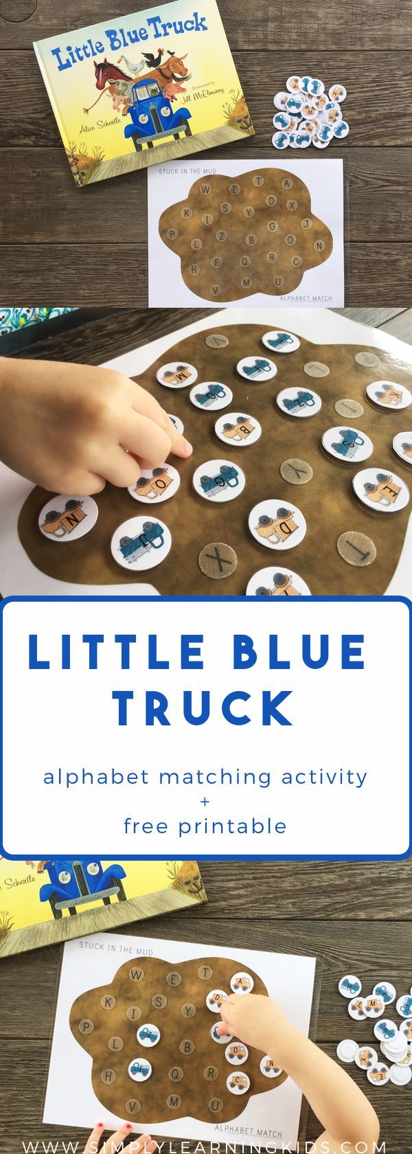 Little Blue Truck Stuck In The Mud Alphabet Match - Free Printable!