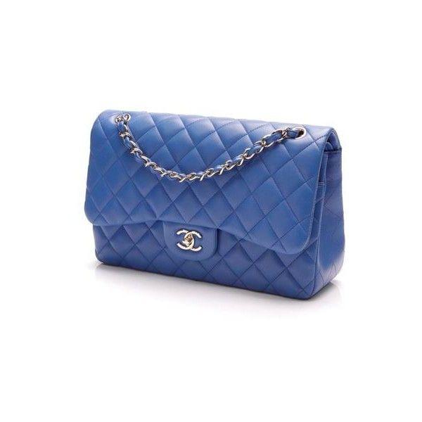 5432a48de347 Pre-Owned Chanel Classic Double Flap Bag - Jumbo Blue Lambskin ...