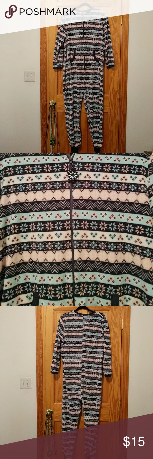 Adult Footie pajamas sz L Super comfy pink amd blue footie pajamas. Excellent condition. No rips or stains. Get this for your next binge watching weekend! Intimates & Sleepwear Pajamas