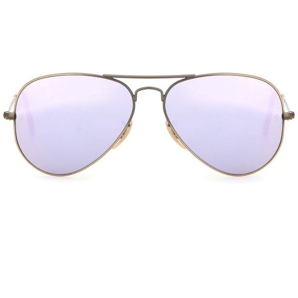Ray-Ban RB3025 Mirrored Aviator Sunglasses ($170) ❤ liked on Polyvore featuring accessories, eyewear, sunglasses, purple, mirror glasses, ray ban sunnies, mirrored sunglasses, mirrored glasses and ray ban glasses