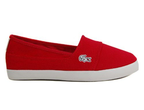 Lacoste Womens Canvas Shoes Marice CAM Slip On Red Sneakers 10 BM US -- Click image for more details. (It is an affiliate link and I receive commission through sales)