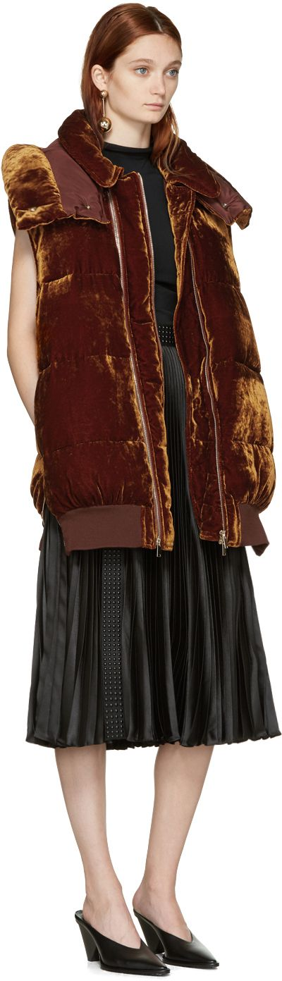 Stella McCartney: Brown Velvet Melissa Vest | SSENSE