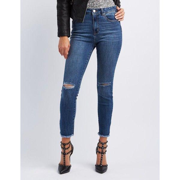 Refuge Hi-Rise Skinny Destroyed Jeans ($35) ❤ liked on Polyvore featuring jeans, dark wash denim, high waisted distressed jeans, destroyed skinny jeans, ripped jeans, distressed jeans and high waisted ripped skinny jeans