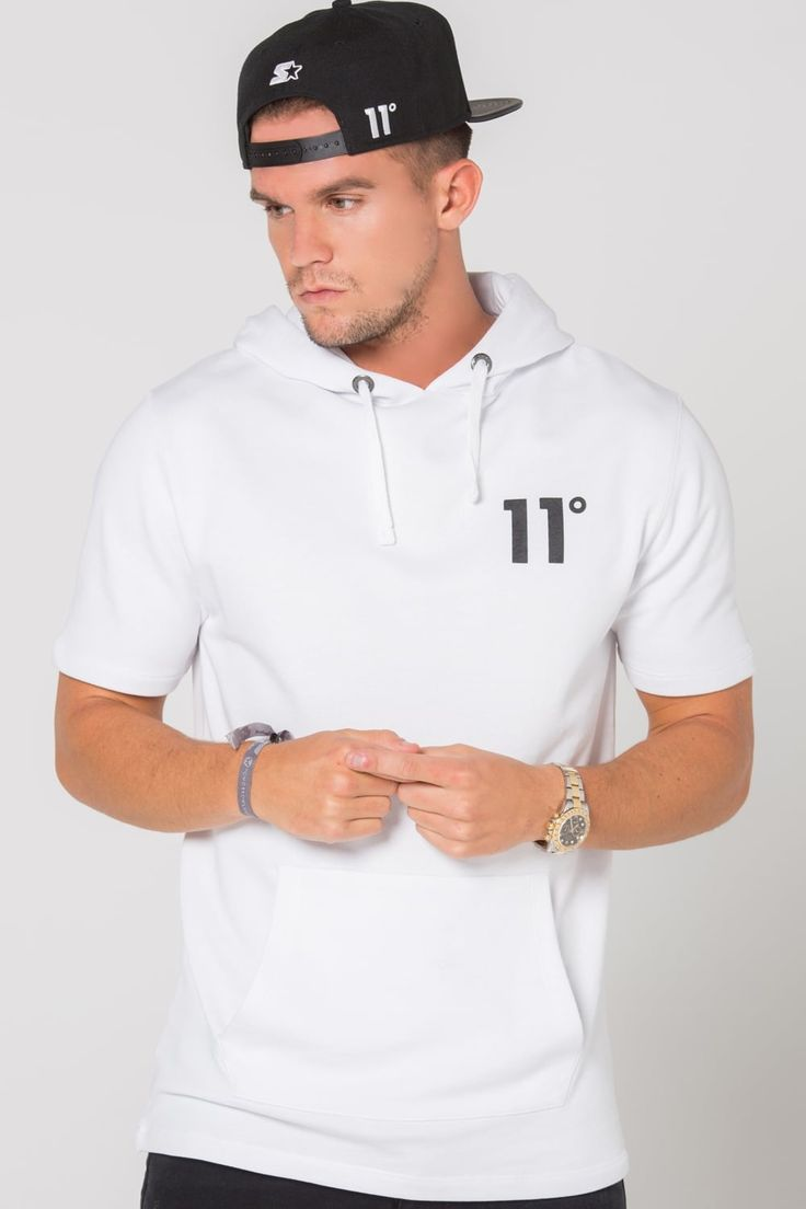 11 Degrees Core Pull Over Short Sleeve Hoodie - White