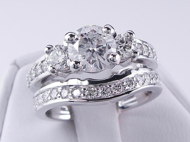 Simple Gorgeous wedding ring set ctw Brilliant Round Cut Diamond Engagement ring and matching contoured