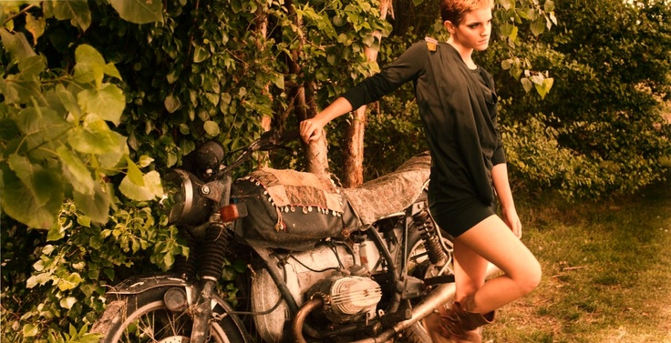 Emma Watson and a BMW motorcycleVintage Motorcycles, People Trees, Fashion Style, Motorcycles Girls, Emmawatson, Emma Watson, Motorcycles Boots, Brown Boots, Fashion Photography