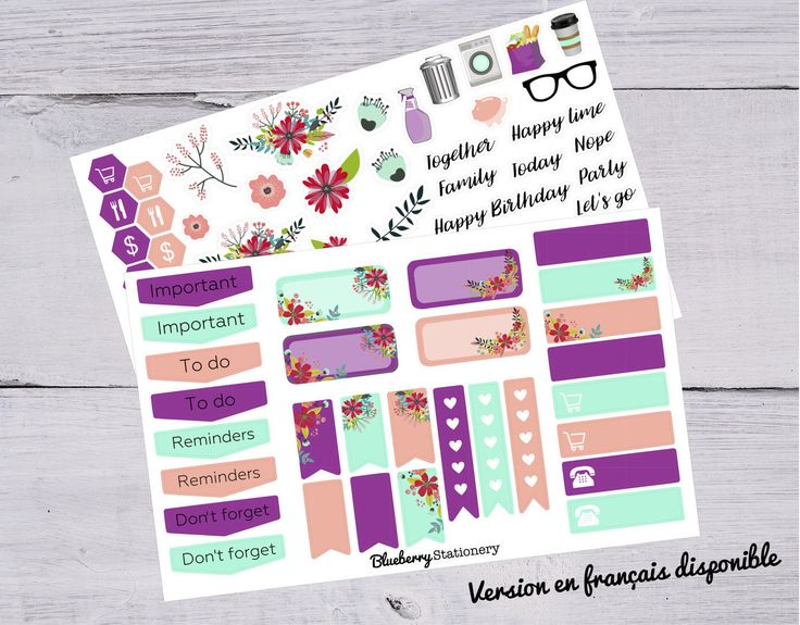 Stickers kit flower. Spring.  Planner Stickers Planning. Office sticker. Letter stickers. stationery. Filofax. scrapbook. Project life de la boutique BlueberryStationery sur Etsy