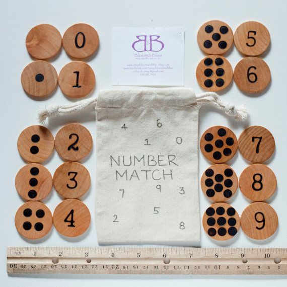 Natural Wood Number Match Game For Children by BloomAndBlissCA